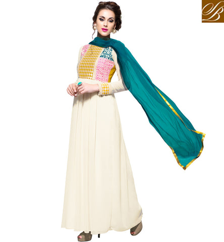 STYLISH BAZAAR Shop casual & party wear Indo-western gown online with green dupatta VDBLU23180