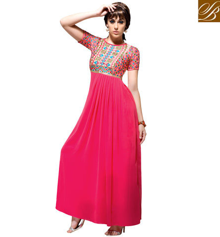 A STYLISH BAZAAR PRESENTATION Buy baby pink casual & festive wear Indio-western value for money gown VDBLU23181
