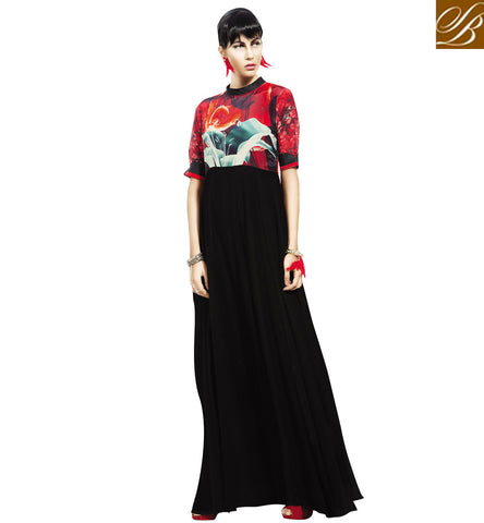 Buy Digital printed stylish bazaar Indio-western blush gown for women VDBLU23182