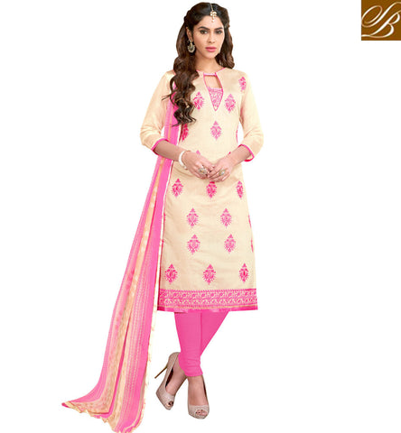 STYLISH ABZAAR Buy Beige & pink salwaar kameez latest couture summer collection design VDCYN21473