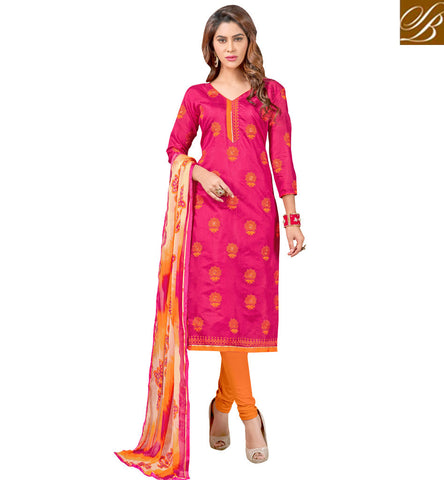 STYLISH BAZAAR Shop dark pink & yellow cotton pakistani style summer churidaar dress VDCYN21477