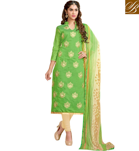 Green collar neck ladies cotton kameez & beige churidaar summer dress VDCYN21478