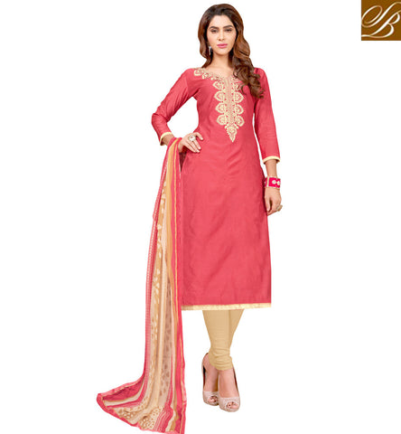 STYLISH BAZAAR Dark peach sweetheart neck designer cotton summer kamiz & beige salwar VDCYN21480