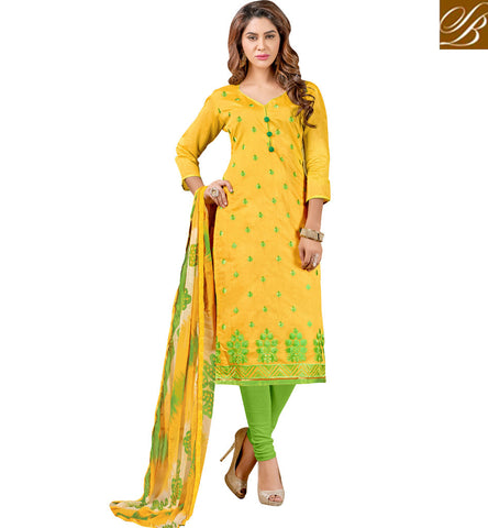 Yellow and green combination designer cotton straigt cut salwar kameez VDCYN21482