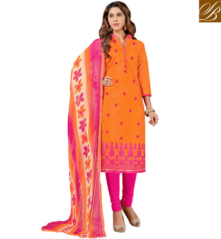 STYLISH BAZAAR Orange and pink designer casual wear women couture salwaar churidaar VDCYN21483