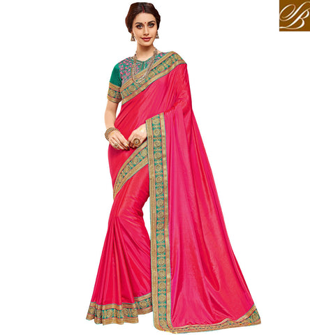 Single color tomato red saree with blue embroidered blouse dania sari VDDAN22167