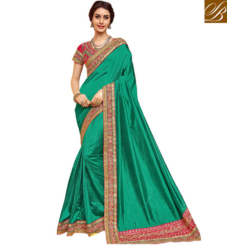 STYLISH BAZAAR Buy Green heavy border sari with red designer blouse Dania silk saree VDDAN22168