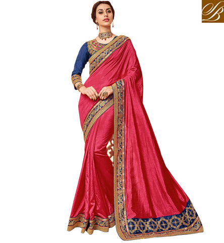 STYLISH BAZAAR Buy Dark peach double border sari with dark blue blouse online design VDDAN22171