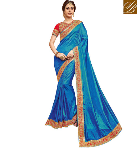 Shop Sky Blue border sari with red v neck blouse online wedding wear VDDAN22172