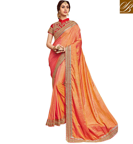 Peach color single zari border design saree with red collared blouse VDDAN22173