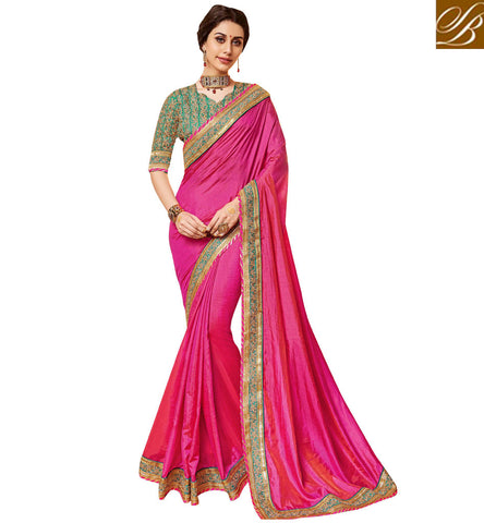 STYLISH BAZAAR Dark Pink single color green border saree with designer blouse online VDDAN22174