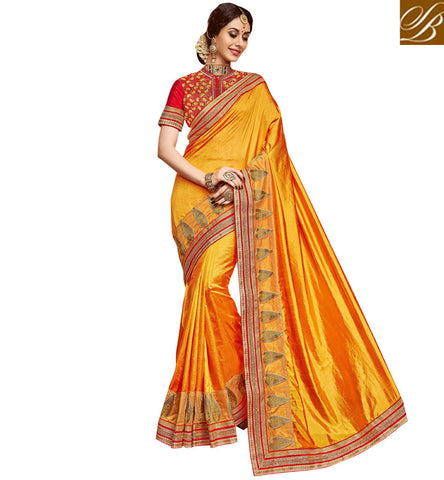 STYLISH BAZAAR Buy yellow single color saree with red golden border & designer blouse VDDAN22175