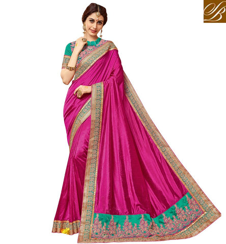 STYLISH BAZAAR Shop for latest violet single color women sari in India, US, UK online VDDAN22176