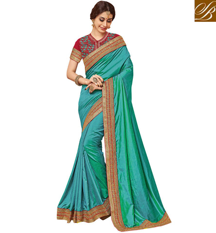 Buy Latest sky Blue single color saree with red designer blouse online VDDAN22178