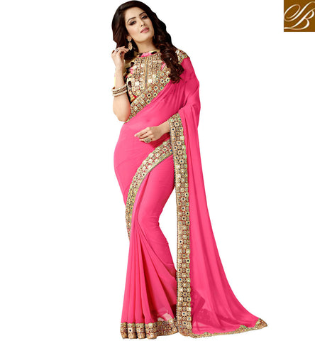 STYLISH BAZAAR BUY EXCLUSIVE BABY PINK WEDDING SAREE WITH MIRROR BORDER TEAMED WITH BEIGE BLOUSE VDEXZ21068