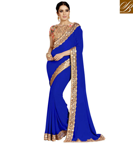 STYLISH BAZAAR BUY LATEST BEIGE COLOR LATEST INDIAN DESIGNER BLOUSE WITH EMBROIDERED NAVY BLUE SAREE VDEXZ21069
