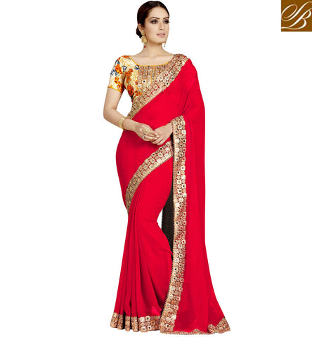STYLISH BAZAAR SHOP FOR LATEST RED HOT SINGLE COLOR SAREE WITH MIRROR WORK WITH BEIGE BLOUSE ONLINE INDIA VDEXZ21070