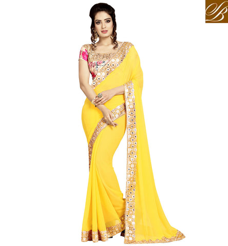 STYLISH BAZAAR SHOP YELLOW & PINK DESIGNER HEAVY EMBROIDERED STYLE INDIAN SAREE WITH BLOUSE IN ONLINE SHOPPING VDEXZ21071