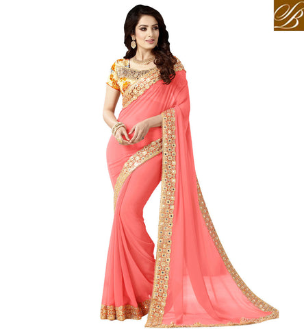 STYLISH BAZAAR BEIGE BHAGALPURI SILK BLOUSE WITH PINK GEORGETTE DESIGNER SAREE ONLINE FOR PARTYWEAR AND RECEPTION VDEXZ21072