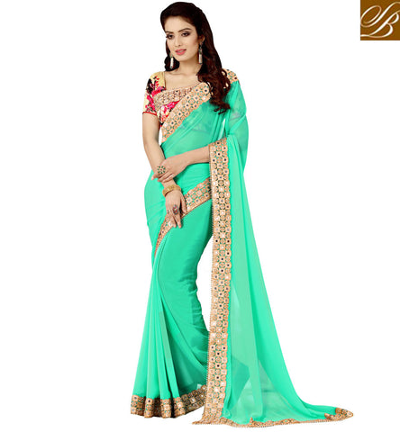 FLAMBOYANT GREEN AND BEIGE BEST QUALITY INDIAN DESIGNER SAREE BLOUSE FOR PARTY AND WEDDINGS VDEXZ21073