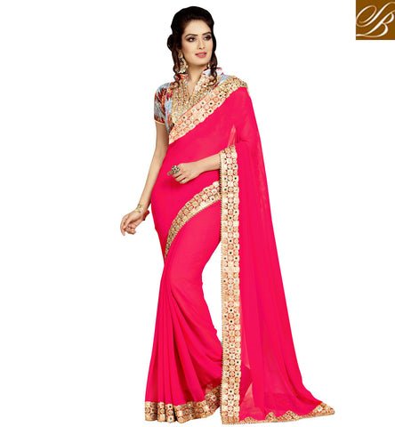 STYLISH BAZAAR BUY TOMATO RED MIRROR WORK SAREE WITH UNSTITCHED GREY BLOUSE ONLINE FOR WOMEN VDEXZ21074