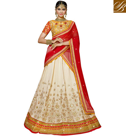 STYLISH BAZAAR BEAUTIFUL OFF WHITE AND YELLOW SILK DESIGNER EMBROIDERED LEHENGA CHOLI VDFLK18891