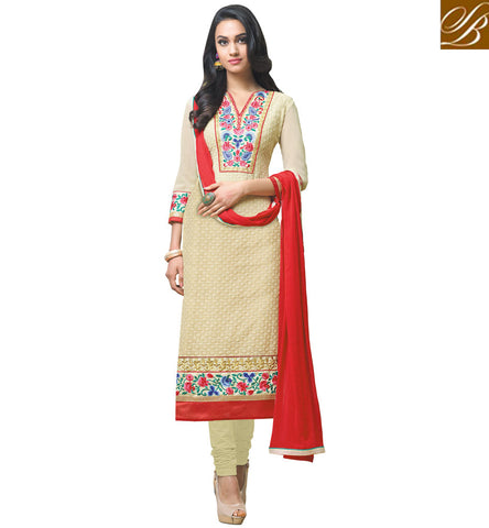 STYLISH BAZAAR GOOD LOOKING CREAM DESIGNER CASUAL WEAR STRAIGHT CUT SALWAR KAMEEZ VDFZA19070