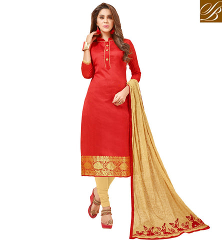 STYLISH BAZAAR SHOP BEIGE AND RED CASUAL WEAR COTTON SALWAR KAMEEZ SUIT LATEST ONLINE LADIES WEAR COLLECTION VDGAN20926