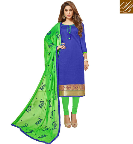 STYLISH BAZAAR GLAMOROUS DEEP BLUE & GREEN DESIGNER COTTON CASUAL SALWAR KAMEEZ LATEST SALWAAR SUIT SET FOR WOMEN VDGAN20927