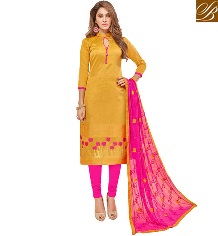 STYLISH BAZAAR YELLOW AND PINK DESIGNER COTTON CASUAL SALWAAR KAMEEZ LATEST CASUAL SUMMER WEAR WOMEN CLOTHES VDGAN20928