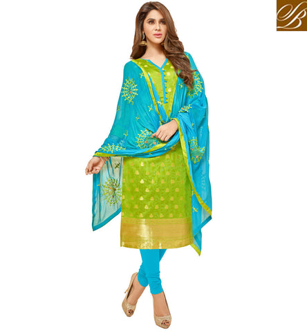 STYLISH BAZAAR SHOP BEAUTEOUS GREEN AND SKY BLUE SALWAAR KAMEEZ SET LATEST SUMMER WEAR WOMEN COLLECTION VDGAN20930