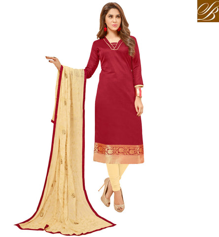 STYLISH BAZAAR GRAND MAROON AND BEIGE COTTON SALWAR KAMEEZ LATEST DESIGN IN STRAIGHT CUT COTTON SALWAAR SUIT VDGAN20934