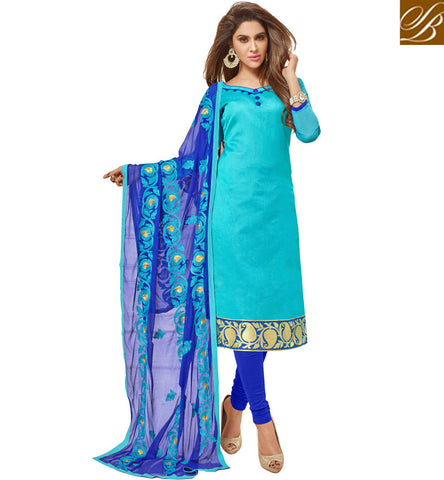 STYLISH BAZAAR BUY EXCELLENT BLUE STRAIGHT CUT COTTON SALWAR KAMEEZ LATEST CLOTHES FOR WOMEN IN SUMMER VDGAN20935