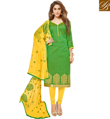 STYLISH BAZAAR BUY BEAUTIFUL PATCH WORK YELLOW & GREEN SALWAAR KAMEEZ NEW TRADITIONAL SUMMER SALWAAR KAMEEZ SETS VDGAN20937