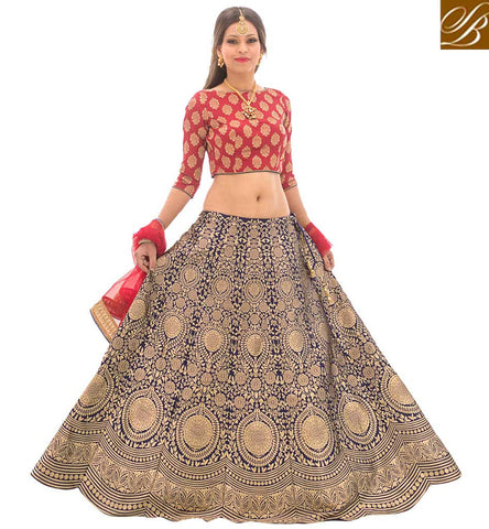 STYLISH BAZAAR Buy heavy designer red and blue lehenga gown for indian women online VDGUN22330