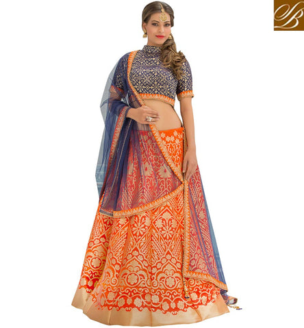 STYLISH BAZAAR Shop navy blue high collar neck choli with orange lace border lehenga VDGUN22331