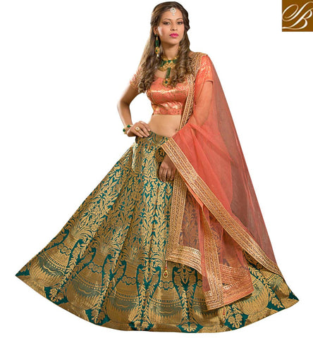 Buy wedding wear peach choli with blue fully embroidered ghaghra online VDGUN22333