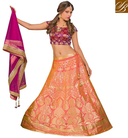 STYLISH BAZAAR Shop bridal magenta net & silk choli with embroidered peach lehenga VDGUN22334