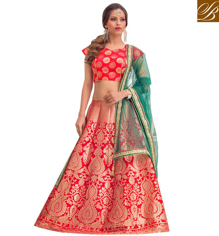 STYLISH BAZAAR Hot Red v neck choli with red embroidered lehenga for sangeet & nikah VDGUN22335