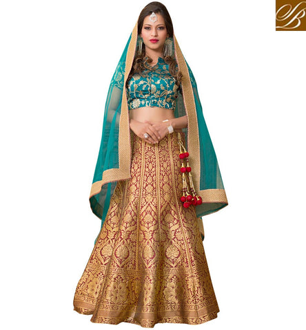 Buy Navy blue choli with beige lehenga in silk & blue net dupatta online VDGUN22336