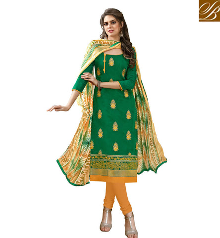 STYLISH BAZAAR FANCY EMERALD GREEN COTTON SALWAR KAMEEZ SUIT SIMPLE COTTON SALWAR KAMEEZ DESIGNS FOR GIRLS 2017 VDHAY20365