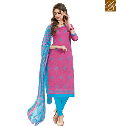 STYLISH BAZAAR PINK AND BLUE COTTON SALWAR KAMEEZ STYLISH BAZAAR SUMMER SALWAR SUITS ONLINE SHOPPING COLLECTION VDHAY20366
