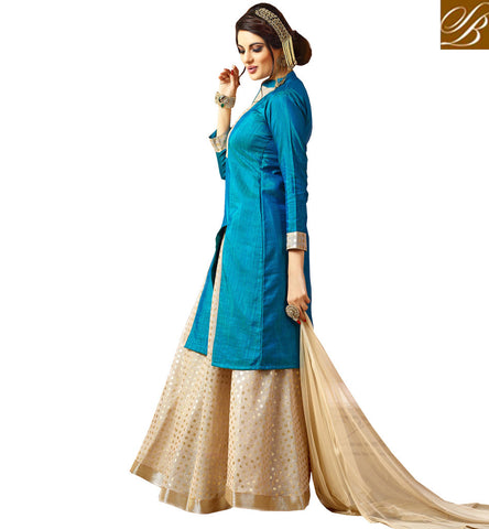STYLISH BAZAAR New simple blue & beige lehenga choli design for India & abroad women VDJUL21449