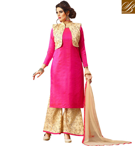 STYLISH BAZAAR Beige jacket and palazzo design with long dark pink kameez Eid dresses VDJUL21450