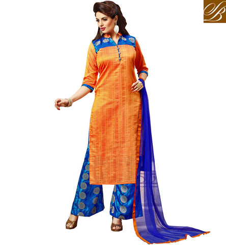 STYLISH BAZAAR Orange kameez top design with designer palazzo party wear collection VDJUL21452
