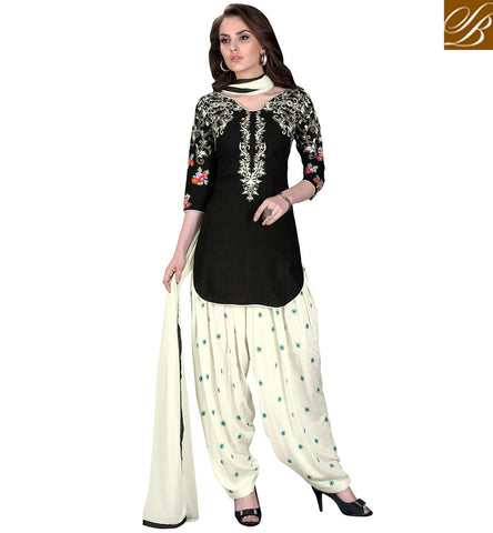 STYLISH BAZAAR Black & white cotton churidaar women summerwear salwaar kameez designs VDKIT21558