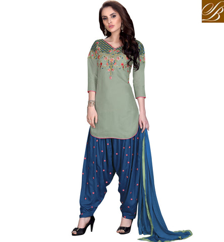 STYLISH BAZAAR Dark grey and blue color ladies suit summer cotton salwaar patterns VDKIT21562