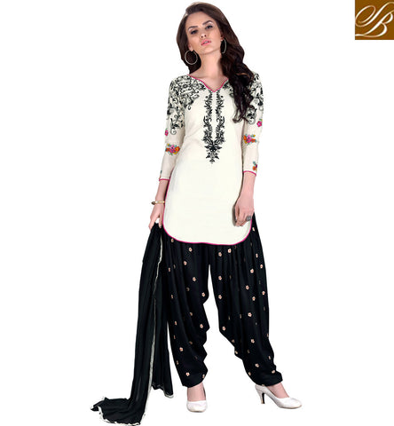 STYLISH BAZAAR Buy white kameez on black churidaar latest women cotton summer wear VDKIT21566