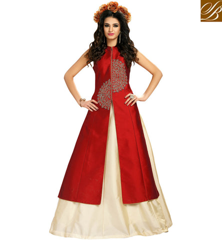 STYLISH BAZAAR SHOP FOR RED LEHENGA STYLE SLEEVELESS KAMEEZ ONLINE INDIAN TAFETA SILK GOWN STYLE DRESS COLLECTION VDMAS20423