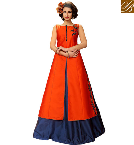 STYLISH BAZAAR RADIANT ORANGE AND BLUE COMBINATION GHAGRA KAMEEZ TAFFETA SILK INDIAN GOWN STYLE SUITS FOR WOMEN ONLINE VDMAS20425